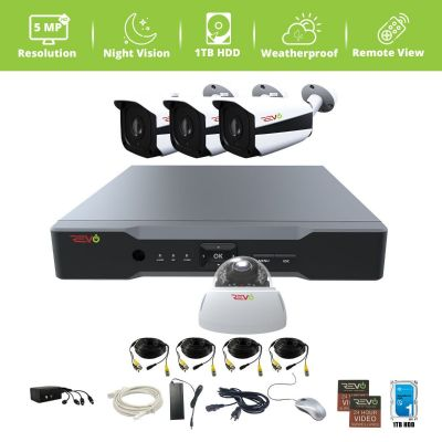 Aero HD 4 Ch. Video Security System with 4 Indoor/Outdoor 5 Megapixel Cameras