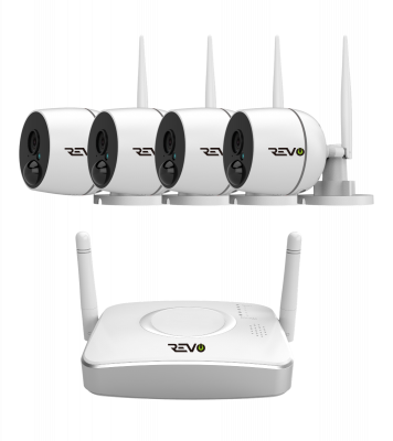 Wireless 4CH Gateway, 32GB microSD with 4x 1080p Indoor/Outdoor Audio Capable Bullet Cameras with PIR