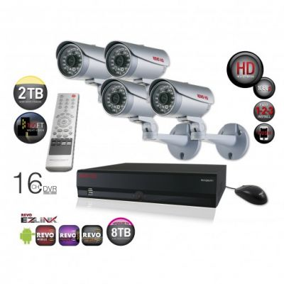 16 Ch. HD 2TB NVR Surveillance System with built-in 8 Ch. POE Switch & 4 1080p HD Bullet Cameras