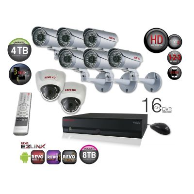 16 Ch. HD 4TB NVR Surveillance System with built-in 8 Ch. POE Switch & 8 1080p HD Cameras