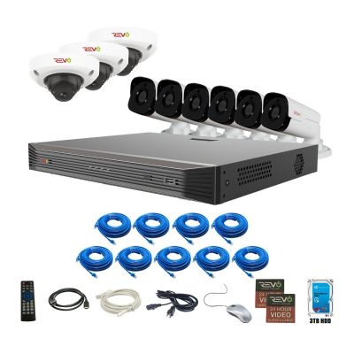 Ultra HD Audio Capable 16 Ch. 3TB NVR Surveillance System with 9 4 Megapixel Cameras