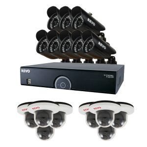 16 Ch Home Surveillance System with 8 Bullet and 8 Dome Cameras