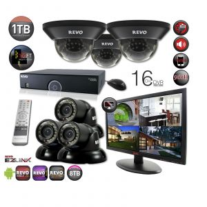 "16 Ch. 1TB 960H DVR Surveillance System with 6 700TVL 100 ft. Night Vision Cameras & 21.5"" Monitor"