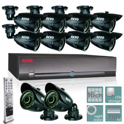 REVO 16 Ch Video Security System with DVR and 10 Night Vision Security Cameras