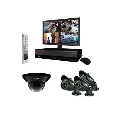 "4 Ch. 500GB DVR Surveillance System with 4 700TVL 100 ft. Night Vision Cameras & 18.5"" Monitor"