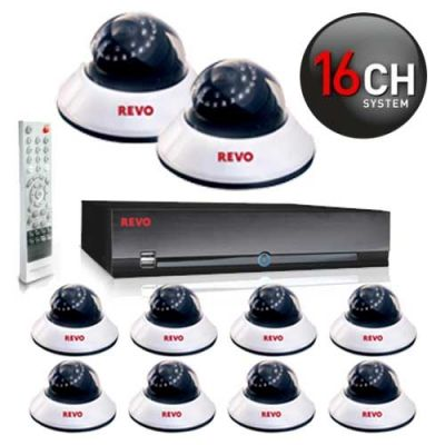 REVO 16 Channel Security System with 10 Night Vision Dome Surveillance Cameras
