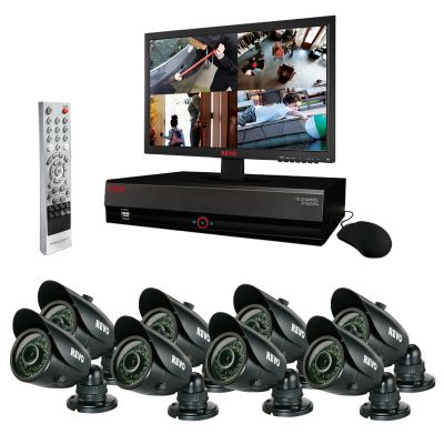 REVO 16 Channel Video Security System with DVR and 8 Night Vision Bullet Security Cameras