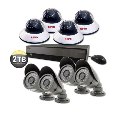 16 Ch. 2TB DVR Surveillance System with 8 600TVL 80 ft. Night Vision Cameras