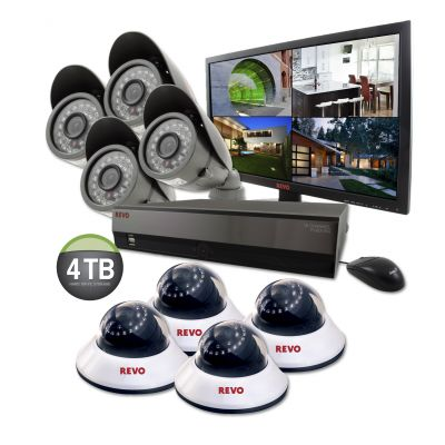 "16 Ch. 4TB DVR Surveillance System with 8 600TVL 80 ft. Night Vision Cameras & 21.5"" Monitor"