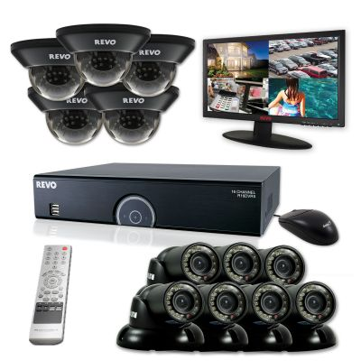 "16 Ch. 8TB 960H DVR Surveillance System with 12 700TVL 100 ft. Night Vision Cameras & 23"" Monitor"