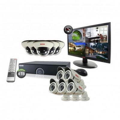 "16 Ch. 4TB 960H DVR Surveillance System with 10 1200TVL 100 ft. Night Vision Cameras & 21.5"" Monitor"