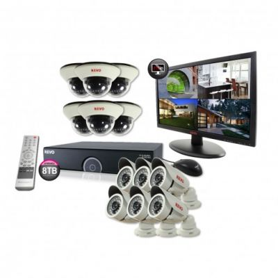 "16 Ch. 8TB 960H DVR Surveillance System with 12 1200TVL 100 ft. Night Vision Cameras & 23"" Monitor"