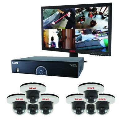 16 Ch. 2TB DVR Surveillance System with 8 700TVL White Dome Cameras & Monitor