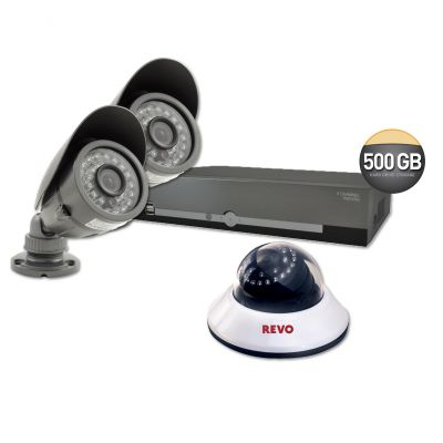 4 Ch. Starter Kit with 500GB DVR & 3 600TVL 80 ft. Night Vision Cameras