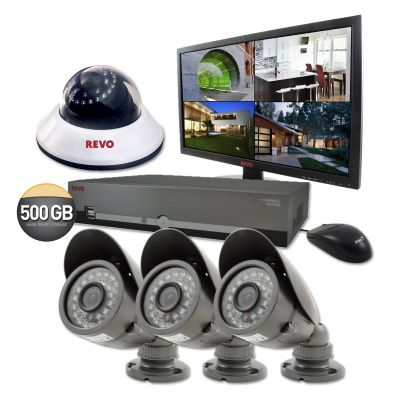 "4 Ch. 500GB DVR Surveillance System with 4 600TVL 80 ft. Night Vision Cameras & 18.5"" Monitor"