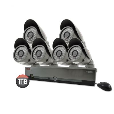 8 Ch. 1TB DVR Surveillance System with 6 600TVL 80 ft. Night Vision Cameras