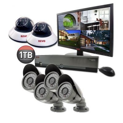 "8 Ch. 1TB DVR Surveillance System with 6 600TVL 80 ft. Night Vision Cameras & 18.5"" Monitor"