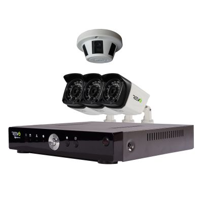 Aero HD 1080p 4 Ch. Surveillance System with 3 Bullet Cameras & 1 Smoke Detector