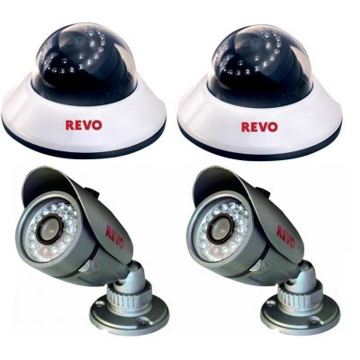 NEW Super Savings 4-Pack! Revo 600 TVL 30 IR 80' Night Vision Quick Connect 3.6mm Fixed Lens 2x Dome Camera 2x Bullet Camera